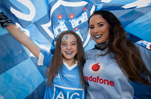 Nicole McClean & Aine McClean during the All Ireland Semi Final Football match between Dublin & Kerry at Croke Park. Photo: Gareth Chaney/Collins Dublin