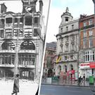The Dublin Bread Company site in 1916, and today