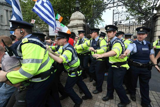 Gardai at the water protest outside the Dail last week