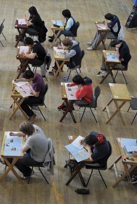 Leaving Cert students sit an exam