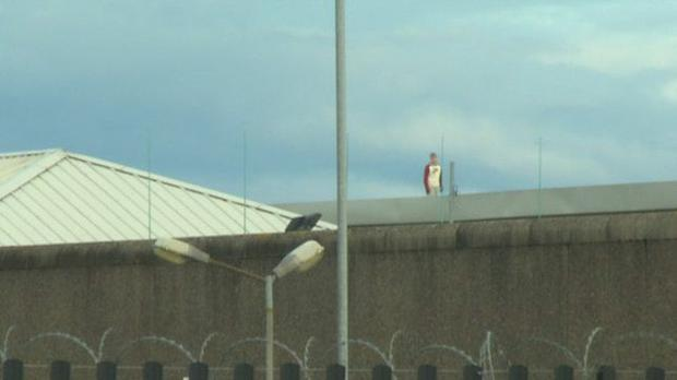 An inmate on the roof at Cloverhill Prison