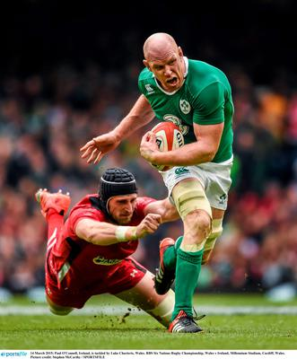 Paul O'Connell is tackled by Luke Charteris of Wales at the RBS Six Nations Rugby Championship, Wales v Ireland, Millennium Stadium, Cardiff, Wales.  Photo: Stephen McCarthy / SPORTSFILE...ABC