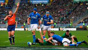 KEY SCORE: Conor Murray of Ireland celebrates after scoring his side's fourth try during the Six Nations match against Italy at the Stadio Olimpico in Rome. Photo: Sportsfile