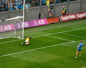 Meath goalkeeper Andrew Colgan saves a penalty from Paul Mannion of Dublin during the Leinster SFC final in June 2019 at Croke Park