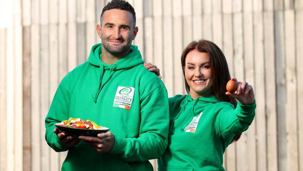 Bord Bia Quality Mark ambassadors Mairead Ronan and Dave Kearney at the World Egg Day celebrations at Irishtown Stadium