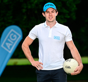Dublin footballer David Byrne at the launch of this year's AIG Cups and Shields at the GUI National Golf Academy at Carton House in Maynooth