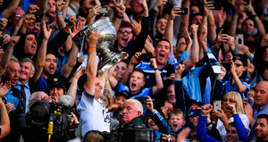 FAMOUS FIVE: Stephen Cluxton of Dublin lifts the Sam Maguire cup following the All-Ireland SFC Final replay win over Kerry last September. Photo: SPORTSFILE