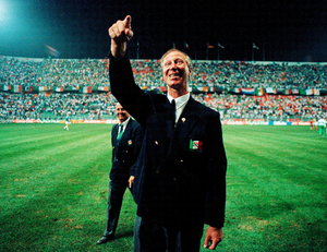 STANDARD BEARER: Republic of Ireland manager Jack Charlton after the World Cup 1990 match against the Netherlands at Stadio La Favorita in Palermo, Italy. Pics: Sportsfile