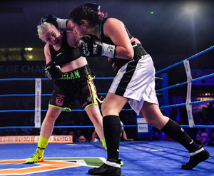 SMASH HIT: Katelynn Phelan, left, and Monika Antonik during their super lightweight bout in March at the National Stadium in Dublin. Photo: Seb Daly/Sportsfile
