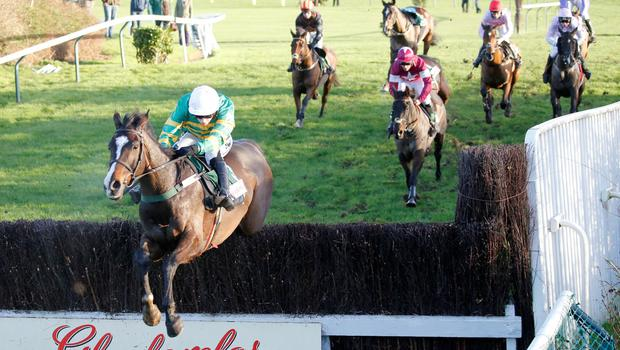 Josies Orders, ridden by Nina Carberry, on their way to winning at Cheltenham yesterday