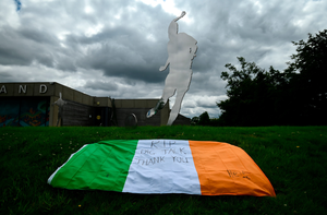 A tribute is placed outside the FAI Headquarters in Abbotstown, Dublin, as a mark of respect to the passing of former Republic of Ireland manager Jack Charlton