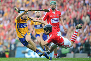 UNSTOPPABLE: Clare's Shane O'Donnell in action against Shane O'Neill of Cork during the 2013 All-Ireland SHC final replay at Croke Park. Photo: SPORTSFILE