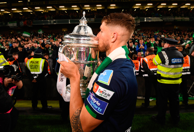 Cheer: Lee Grace of Shamrock Rovers celebrates following the FAI Cup Final win over Dundalk at the Aviva Stadium