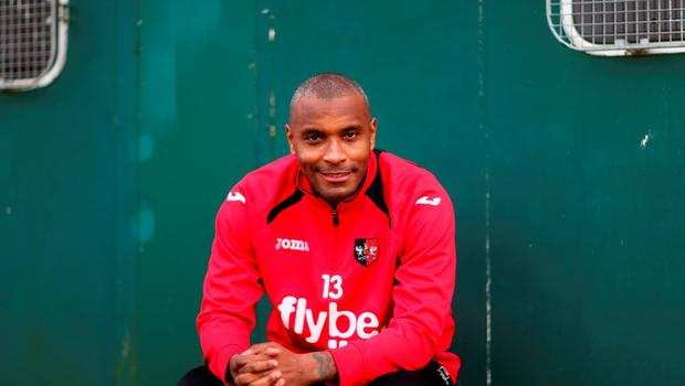 Exeter City striker Clinton Morrison poses during the club's FA Cup media day at the Cliff Hill training ground ahead of tonight's third round clash against Liverpool Photo:Getty