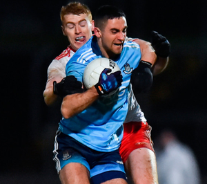 James McCarthy of Dublin in action against Peter Harte of Tyrone during the Allianz Football League Division 1 match at Healy Park