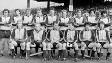 The 1977 All-Ireland winning Dublin team, back row, left to right, Kevin Moran, Anton O'Toole, Seán Doherty, Jimmy Keaveney, Paddy Cullen, Tommy Drumm, John McCarthy, Bernard Brogan, Bobby Doyle. Front row, left to right, Brian Mullins, Pat O'Neill, Tony Hanahoe, David Hickey, Robbie Kelleher, Gay O'Driscoll. Picture credit: Connolly Collection  / SPORTSFILE
