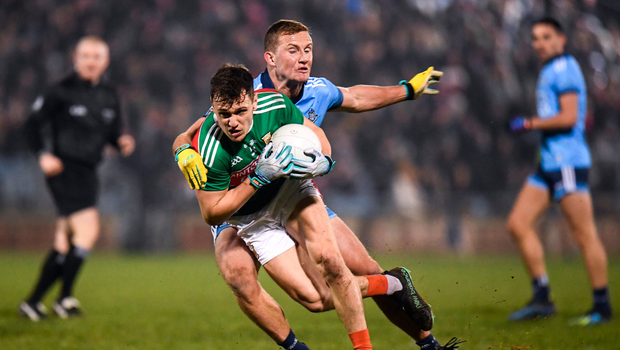 CLOSE ATTENTION: Michael Plunkett of Mayo in action against Ciarán Kilkenny of Dublin during the Allianz Football League Division 1 matchat Elverys MacHale Park in Castlebar. Pic: Sportsfile