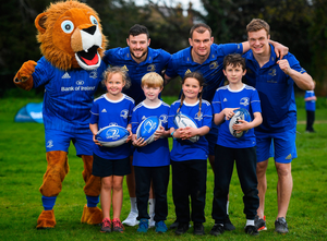 The Bank of Ireland Leinster Rugby Summer Camps and new inclusion camps were launched by Leinster Rugby stars Josh Van Der Flier, Rhys Ruddock, Robbie Henshaw and mascot Leo the Lion along with school kids (l-r) Kate Gunne, age 9, Vincent Hoolahan (10), Molly Kearney (8) and Andrew Quinlan (9) at St Mary's National School, Ranelagh. Visit www.leinsterrugby.ie/camps for information. Photo: Sportsfile