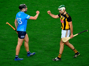 Donal Burke of Dublin (left) and Paddy Deegan of Kilkenny after the Leinster SHC semi-final at Croke Park