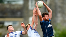 Shane O'Rourke of Simonstown Gaels in action against Skryne's Stephen O'Brien during the Meath SFC game at Páirc Tailteann in Navan