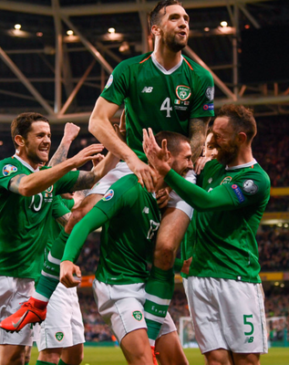 Republic of Ireland players celebrate after Conor Hourihane's goal during last night's UEFA Euro 2020 Group D qualifying clash against Georgia at the Aviva Stadium
