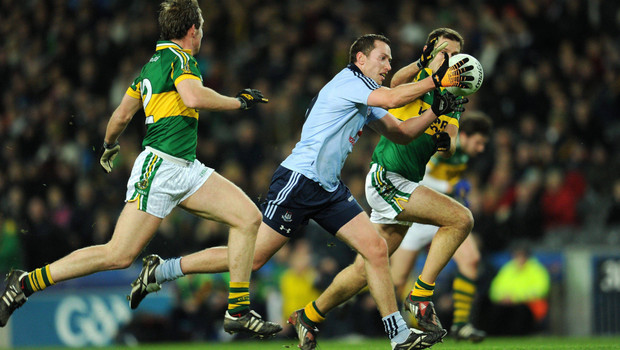 TURNING POINT: Barry Cahill in action for Dublin against Kerry's Eoin Brosnan (right) and Donnchadh Walsh during the Allianz Football League clash in February 2011. Pic: Sportsfile