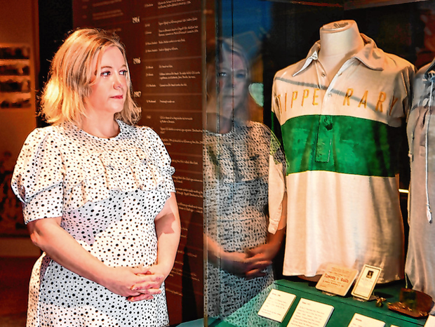 Julianne McKeigue, events manager at the GAA Museum and a descendant of Tipperary footballer Michael Hogan who was killed during the Bloody Sunday attack, with the commemorative jersey that will be worn by the Tipp footballers in the Munster final