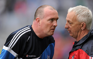 FACE TO FACE: Dublin manager Pat Gilroy (left) and Cork manager Conor Counihan in conversation after the 2011 Allianz Football League Division 1 Final. Pic: Sportsfile