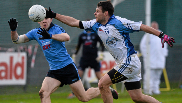 Dubs Stars' Kevin McManamon tries to control the head as Dublin's David Byrne comes in to contest possession in last year's Dublin Bus/Herald Dubs Stars challenge at Parnell's. Pic: David Maher/Sportsfile