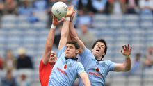 AERIAL BATTLE: Diarmuid Connolly (centre) and Michael Darragh Macauley (right) of Dublin, in action against Cork's Alan O'Connor during the Allianz Football League Division 1 Final at Croke Park in April 2011. Pic: Sportsfile