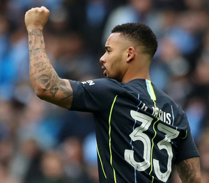Manchester City's Gabriel Jesus celebrates scoring their first goal. Photo: Reuters