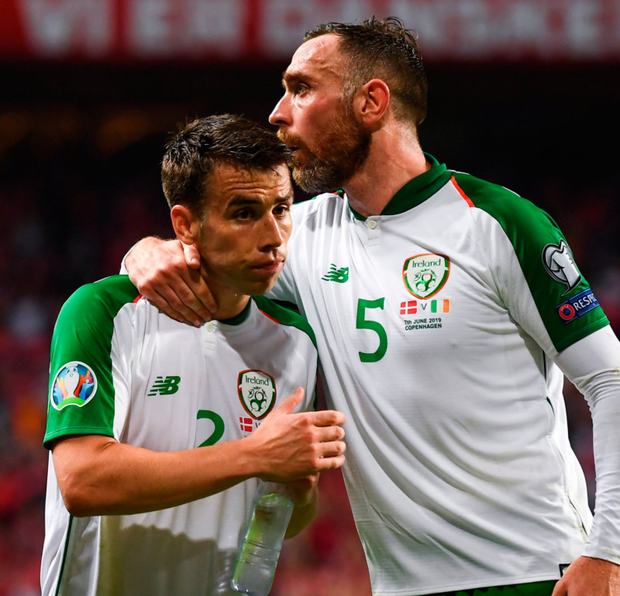 Seamus Coleman (left) and Richard Keogh celebrate in Copenhagen