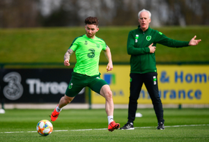 Sean Maguire and Republic of Ireland manager Mick McCarthy during a training session. Photo: Sportsfile