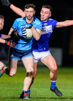 Dublin's Ciarán Archer in action against Barry Howlin of Laois during the EirGrid Leinster U20 Football Championship at Netwatch Cullen Park in Carlow last March. Photo: Sportsfile