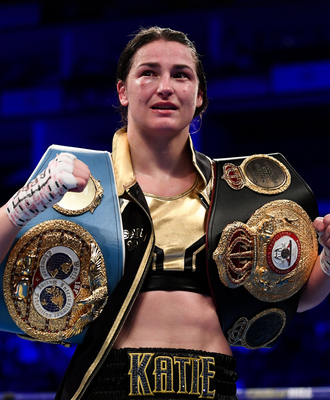 Katie Taylor following her WBA & IBF World Lightweight Championship bout with Kimberly Connor at The O2 Arena in London in July Pic: Sportsfile