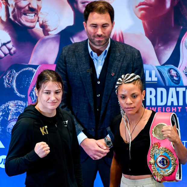 Katie Taylor and Christina Linardatou ahead of their WBO Women's Super-Lightweight World title fight tomorrow night at the Manchester Arena