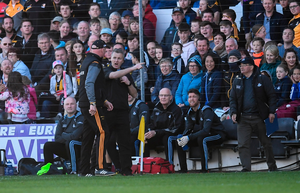 FLASHPOINT: Dublin selector Greg Kennedy and Kilkenny manager Brian Cody exchange views. Pic: Sportsfile