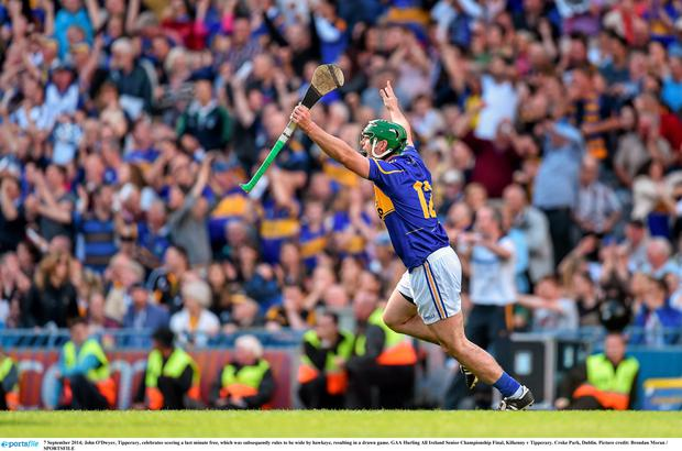 John O'Dwyer, Tipperary, celebrates scoring a last minute free, which was subsequently ruled to be wide by Hawkeye