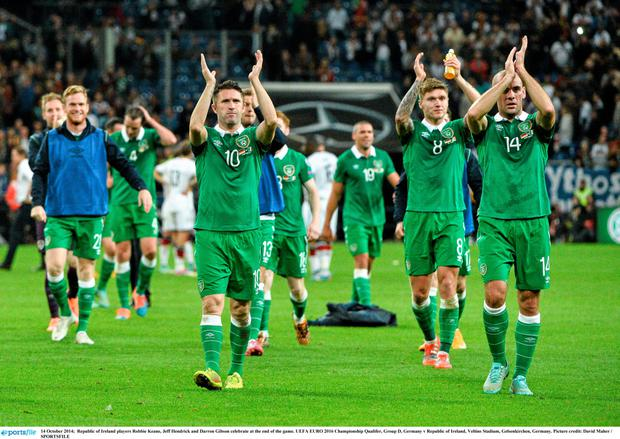 14 October 2014; Republic of Ireland players Robbie Keane, Jeff Hendrick and Darron Gibson celebrate at the end of the game. UEFA EURO 2016 Championship Qualifer, Group D, Germany v Republic of Ireland, Veltins Stadium, Gelsenkirchen, Germany. Picture credit: David Maher / SPORTSFILE