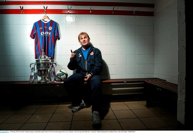 28 October 2014; St Patrick's Athletic manager Liam Buckley ahead of their FAI Ford Cup Final against Derry City on Sunday. FAI Ford Cup Final Media Day - St Patrick's Athletic, Richmond Park, Dublin. Picture credit: Paul Mohan / SPORTSFILE