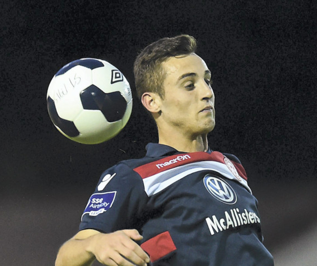 Ger O'Brien, St Patrick's Athletic, in action against Dylan Connolly