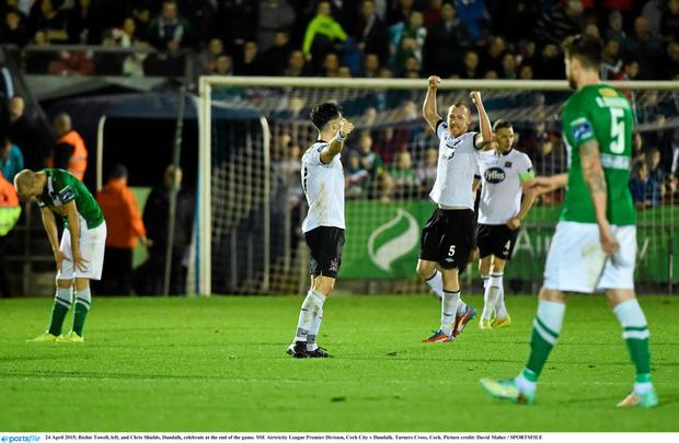 Richie Towell, left, and Chris Shields, Dundalk, celebrate after beating Cork City
