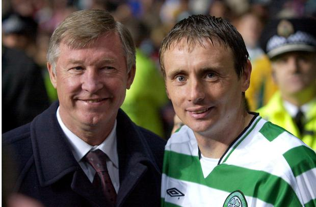 Tom Boyd with Alex Ferguson