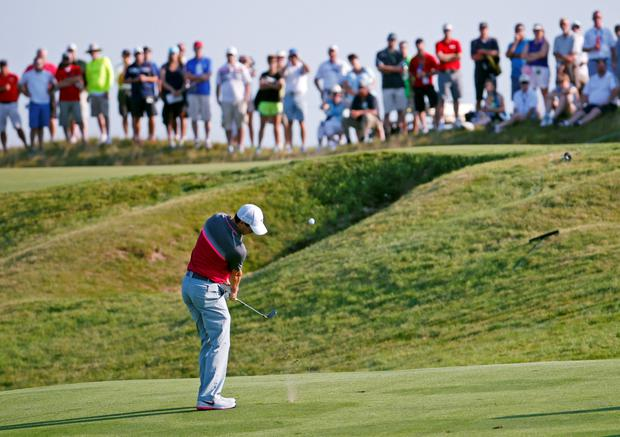 Rory McIlroy hits to the 10th hole during the second round of the US PGA Championship golf tournament at Whistling Straits in Haven, Wisconsin yesterday.