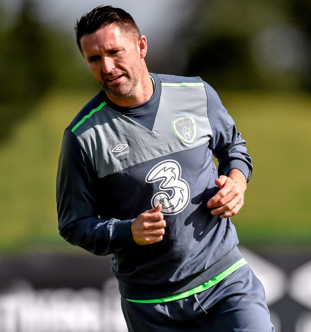 Ireland captain Robbie Keane pictured during squad training.