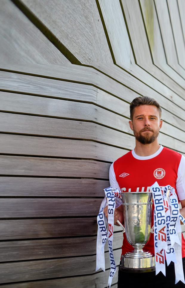 St Patrick's Athletic captain Ger O'Brien is pictured with the EA Sports Cup ahead of Saturday's final clash with Galway United