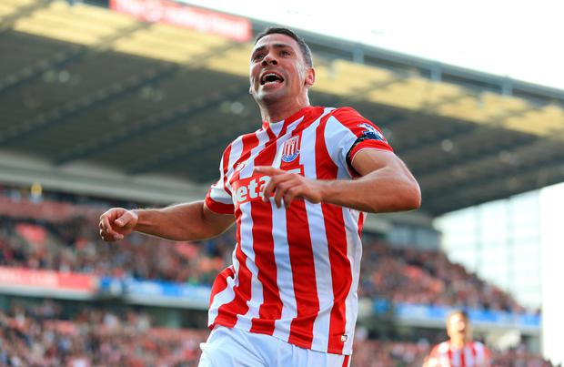 Jonathan Walters celebrates his goal against Leicester City last Saturday