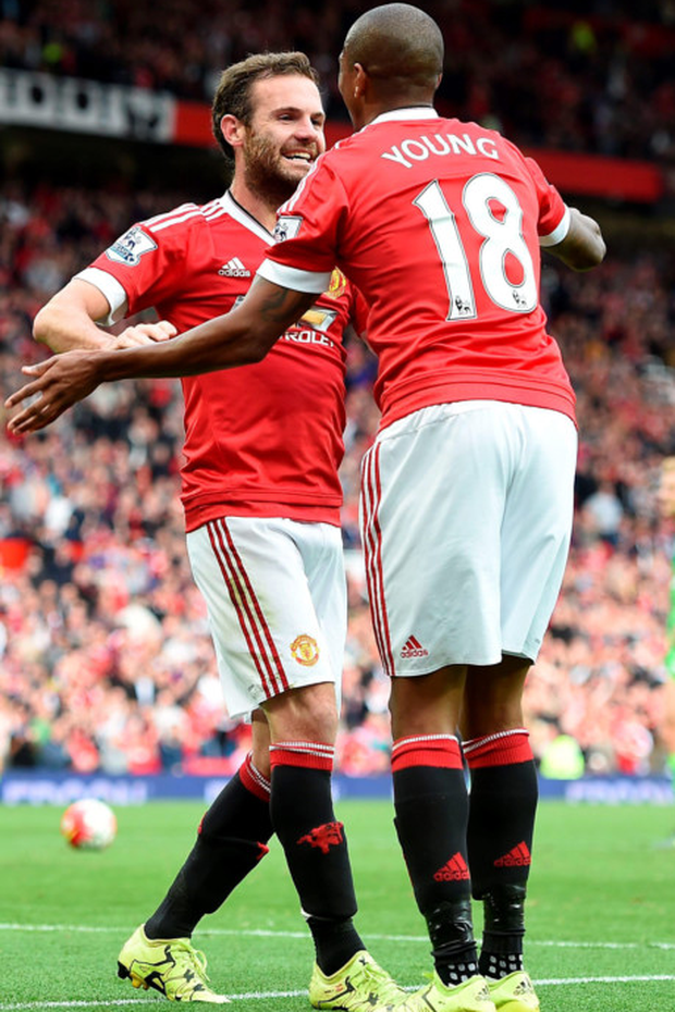 Juan Mata celebrates his goal in the win over Sunderland with Manchester United team-mate Ashley Young