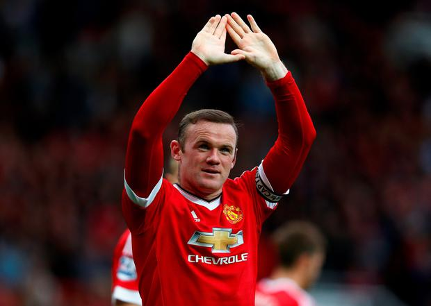 Manchester United captain Wayne Rooney celebrates his first Premier League goal of the season in the win over Sunderland