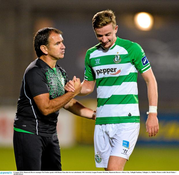 Finn pictured with Shamrock Rovers boss Pat Fenlon